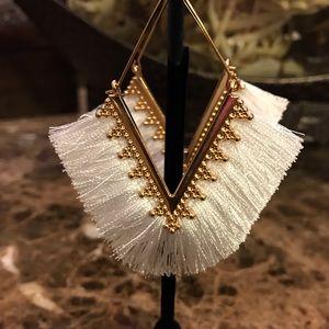 White and Gold Tassel Earrings